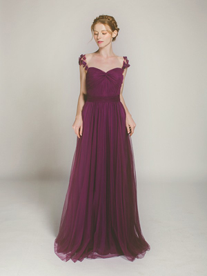 aubergine tulle long bridesmaid dress with floral straps swbd001