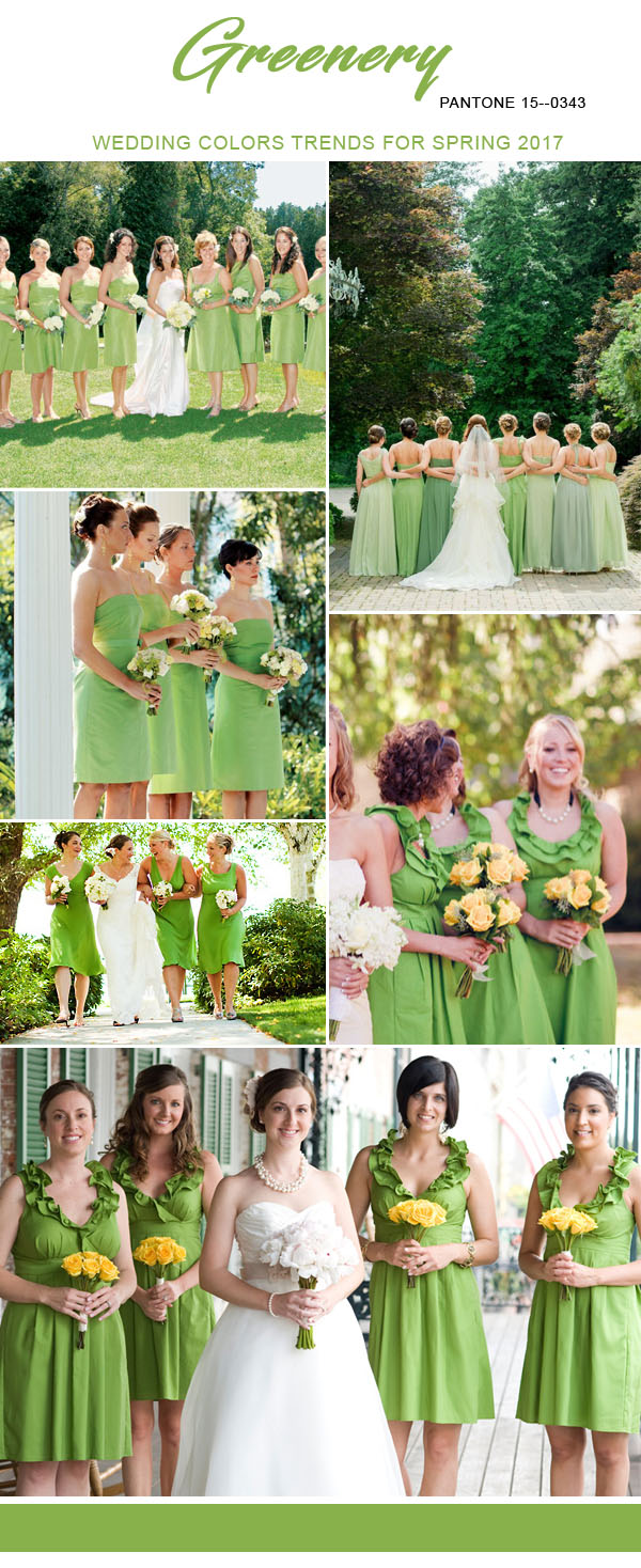 greenery wedding colors trends for 2017 spring bridesmaid dresses