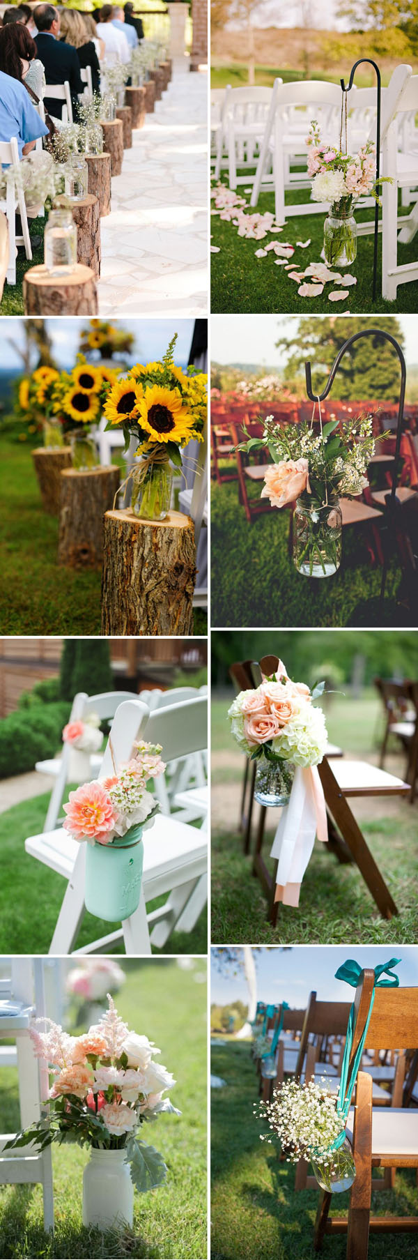 mason jar and flower wedding ceremony aisle chair decoration ideas