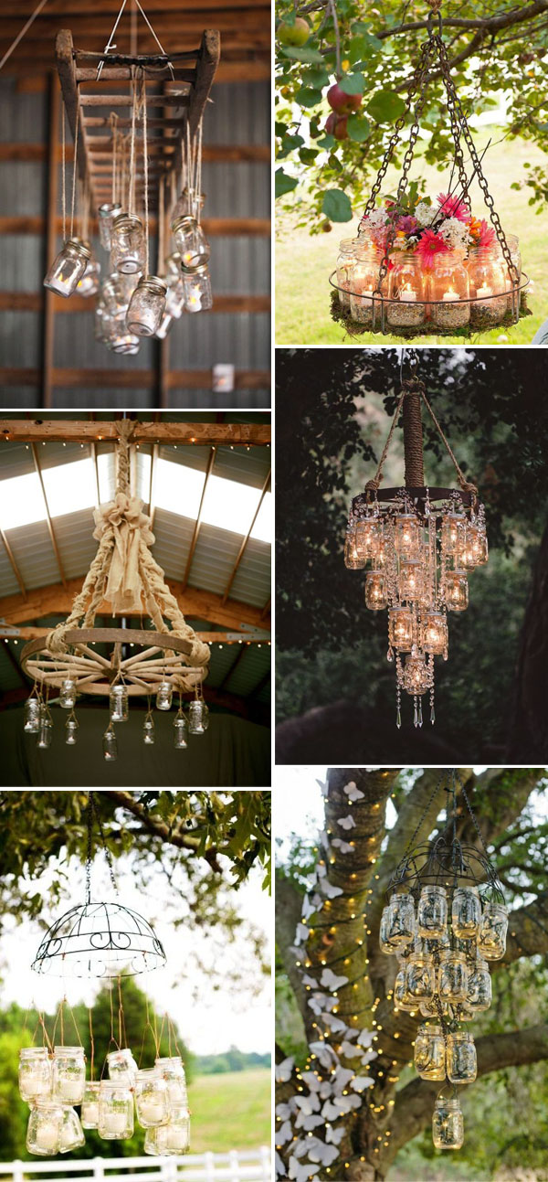 mason jar wedding chandelier for rustic and vintage weddings