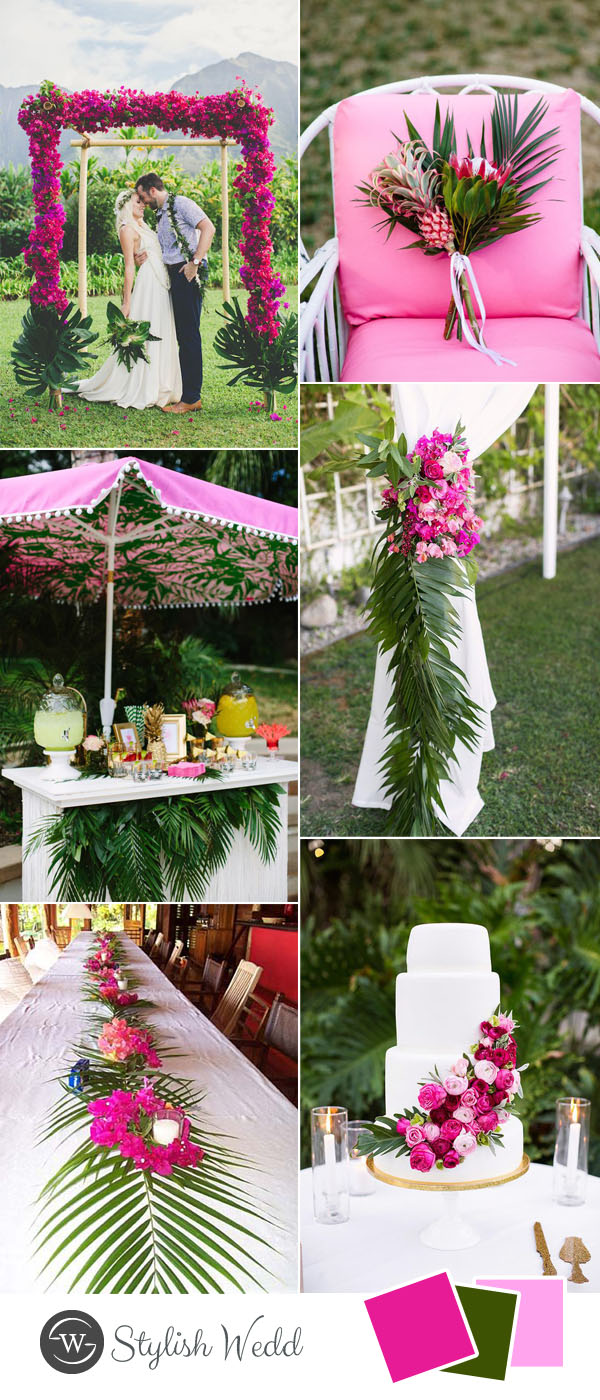 plam leave hot pink tropical wedding inspiration