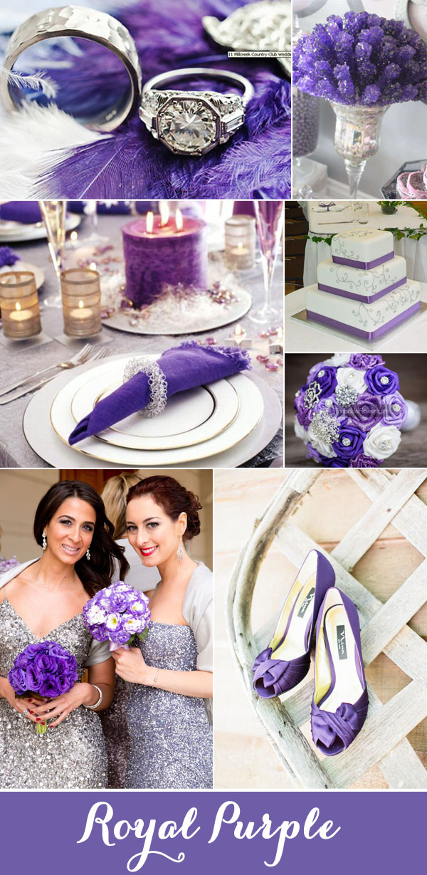royal purple and glitter silver gray wedding colors