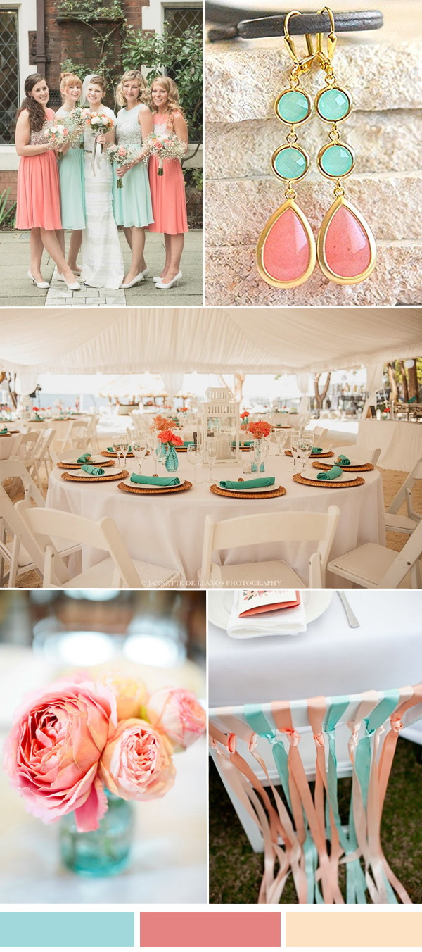 aqua and coral wedding color combo ideas for spring summer wedding 2017