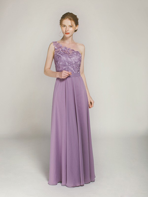 lavender long one shoulder lace bridesmaid dress with chiffon skirt swbd024