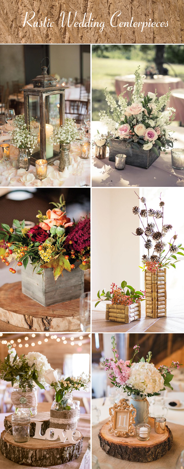 rustic wedding reception centerpieces ideas