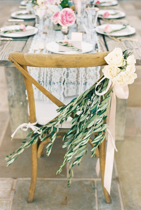 stunning wedding chair ideas with olive branch and flowers