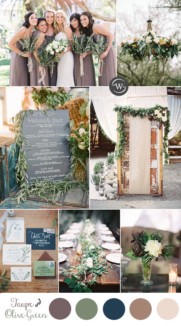 taupe and olive leave wedding color inspiration