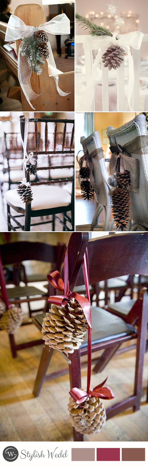 2016 winter wedding chair with pinecone
