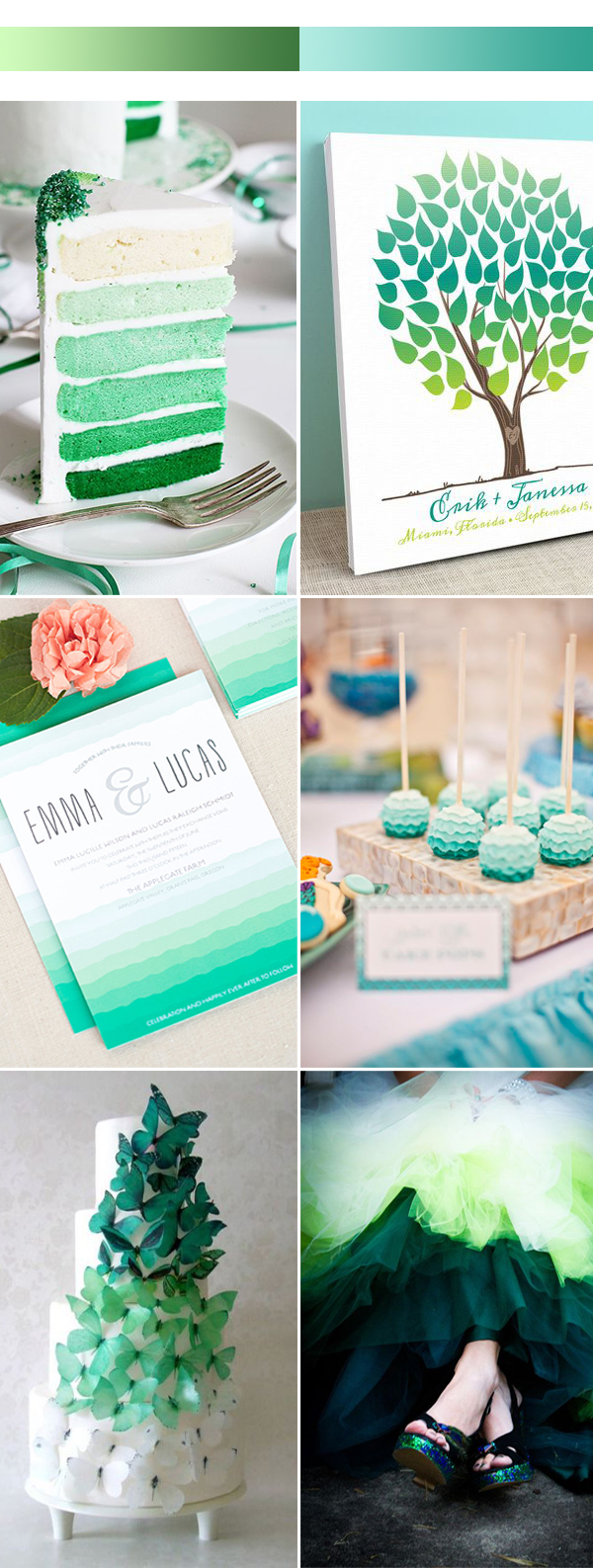 2017 ombre green wedding color inspiration