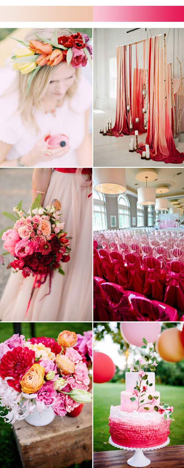 2017 Spring Ombre Red Wedding Color Ideas