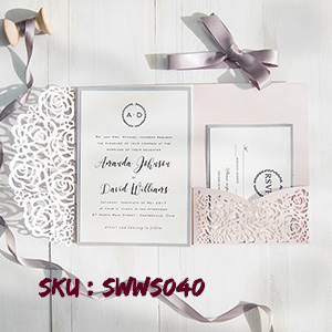 Blush Pink and Gray Laser Cut Pocket Wedding Invitations SWWS040