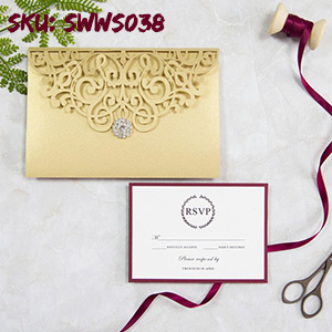 Classic Gold and Burgundy Pocket Laser Cut Wedding Invitations SWWS038