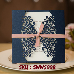 Formal Navy Blue Laser Cut Wedding Invitation Cards with Band SWWS008