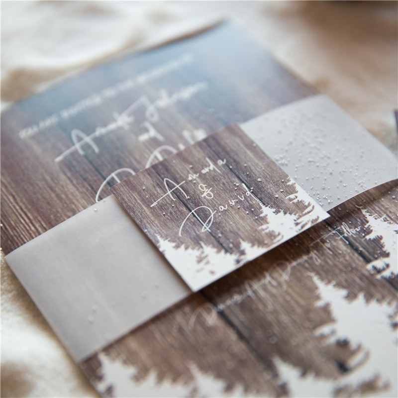 affordable-winter-barnwood-pine-tree-wedding-invitation-with-vellum-paper-belly-band-and-tag-swpi016-6