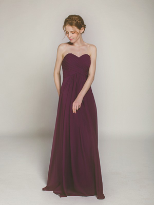 aubergine long chiffon sweetheart bridesmaid dress