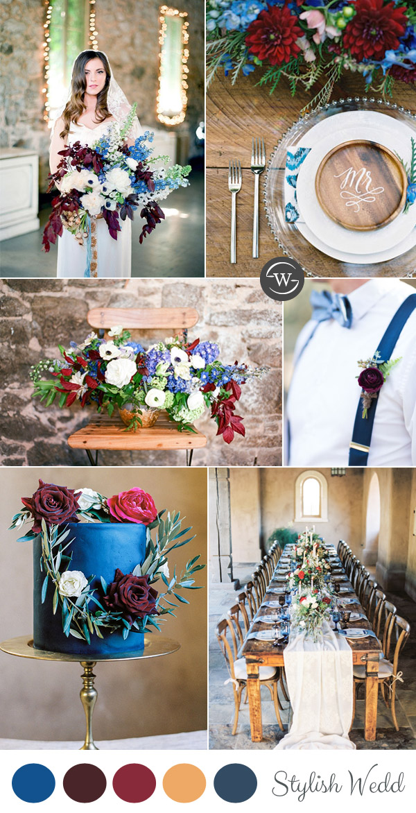 burgundy and blue spring wedding color palettes