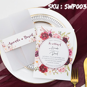 burgundy and blush floral wedding invitation with vellum pocket and belly band SWPI003