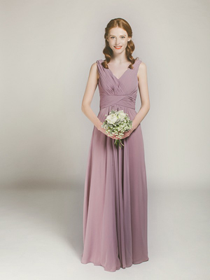 chiffon mauve full length v-neck bridesmaid gown
