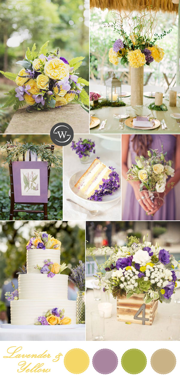 bright yellow and lavender yellow wedding colors
