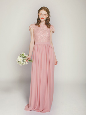 dusty rose lace and chiffon long bridesmaid dress with cap sleeves