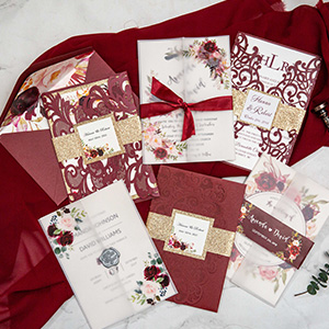 elegant Burgundy and gold wedding invitation ideas