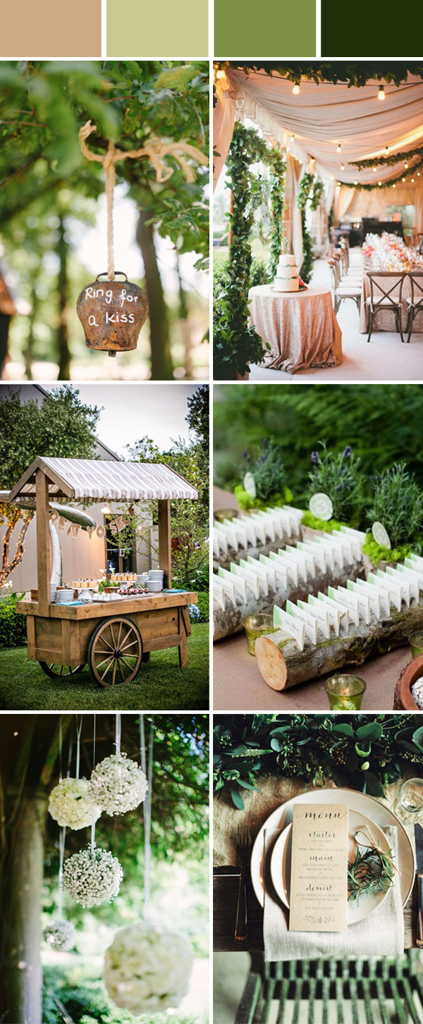 elegant and chic green rustic wedding color ideas