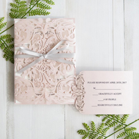elegant blush pink laser cut wedding invitation with gray band