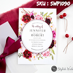 fall burgundy and blush floral wedding invitation with vellum pocket SWPI090