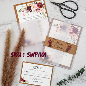 fall rustic floral vellum jacket wedding invitation with craft paper backer SWPI101