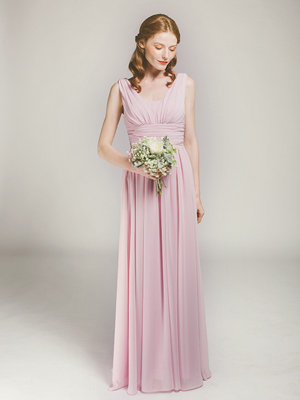 gorgeous long lavender blush bridesmaid dress with v-back