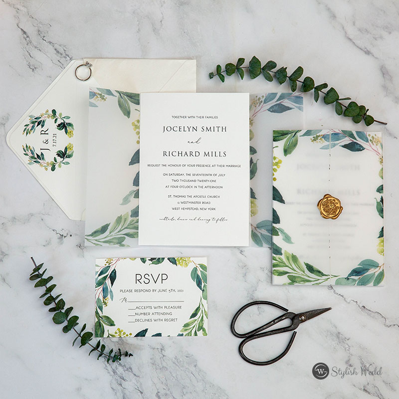 greenery vellum jacket wedding invitation suites with gold wax seal SWPI106