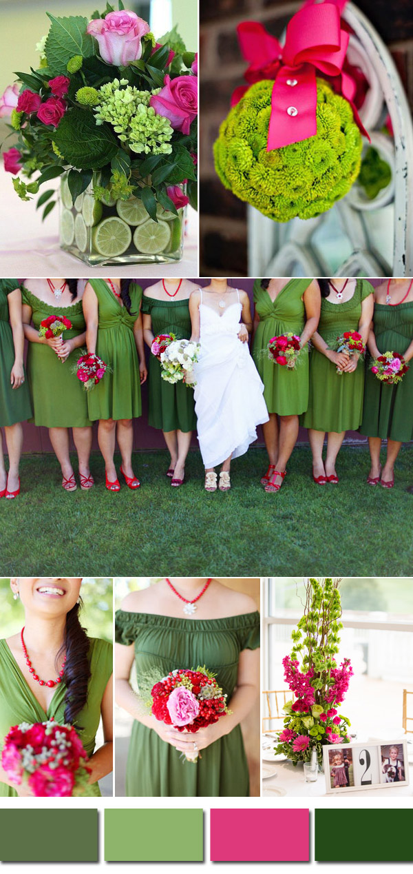 lush green and pink spring and summer wedding colors