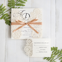modern floral laser cut wedding invitations with champagne band