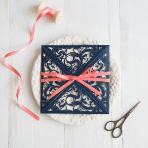 navy blue and coral wedding colors inspired elegant laser cut wedding invitation