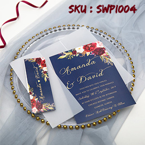 navy blue and marsala floral invitation with vellum pocket and belly band SWPI004