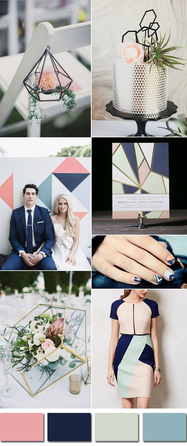 navy blue and pink geometric modern wedding color inspiration