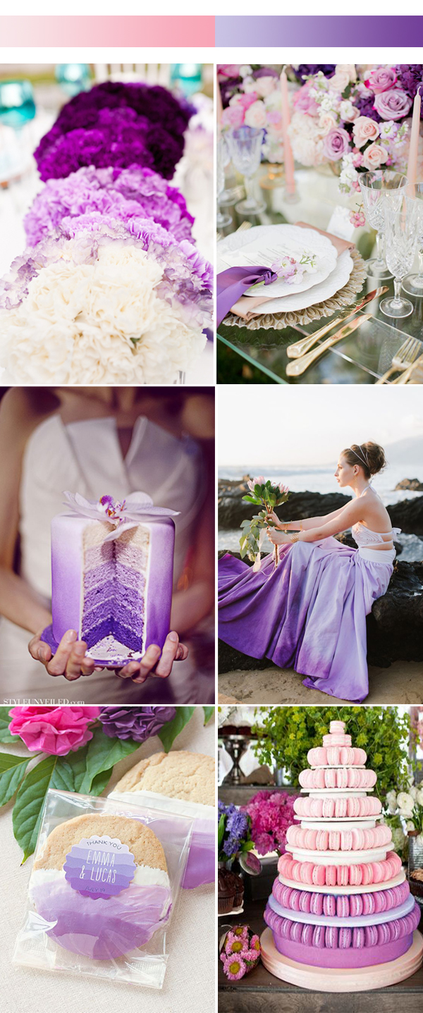 ombré theme wedding in purple for 2017 spring