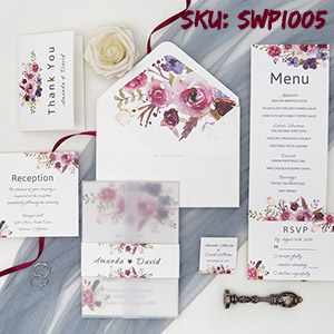 pink and purple floral wedding invitation with vellum paper belly band SWPI005