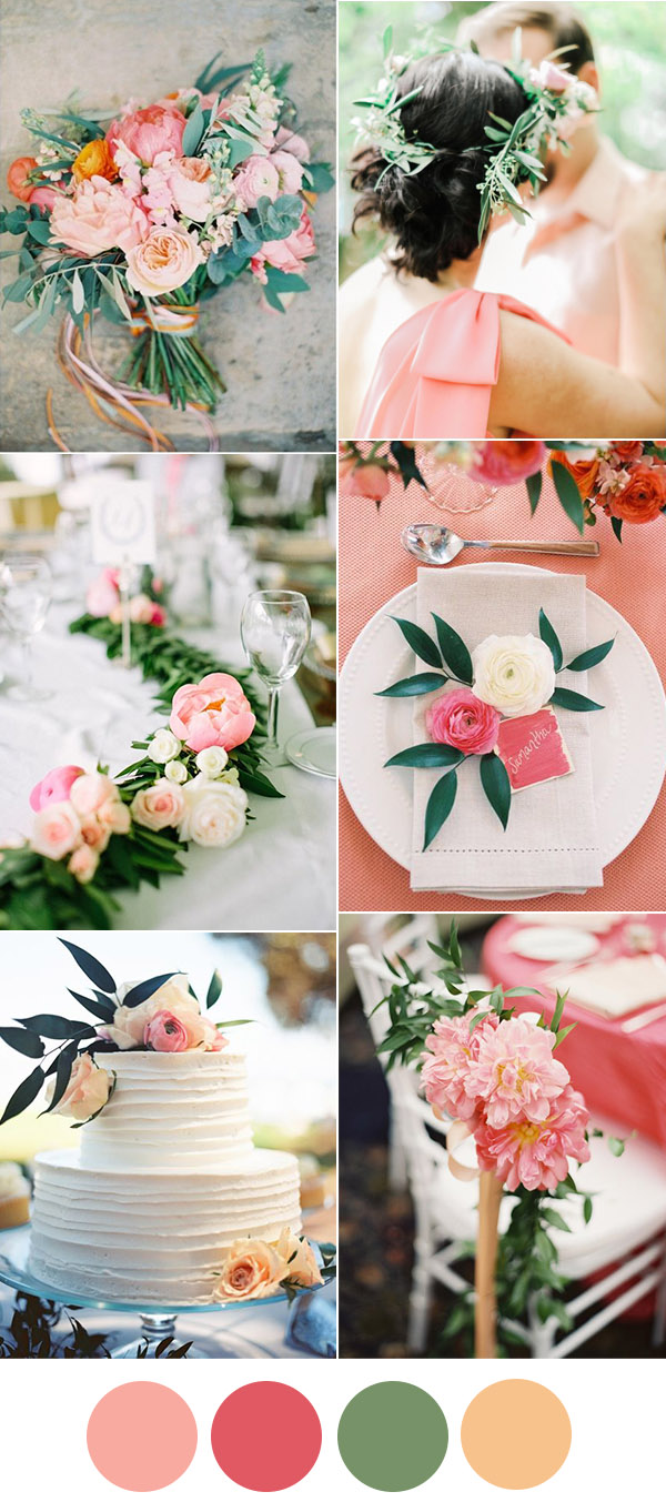 pink, peach and botanical wedding color ideas