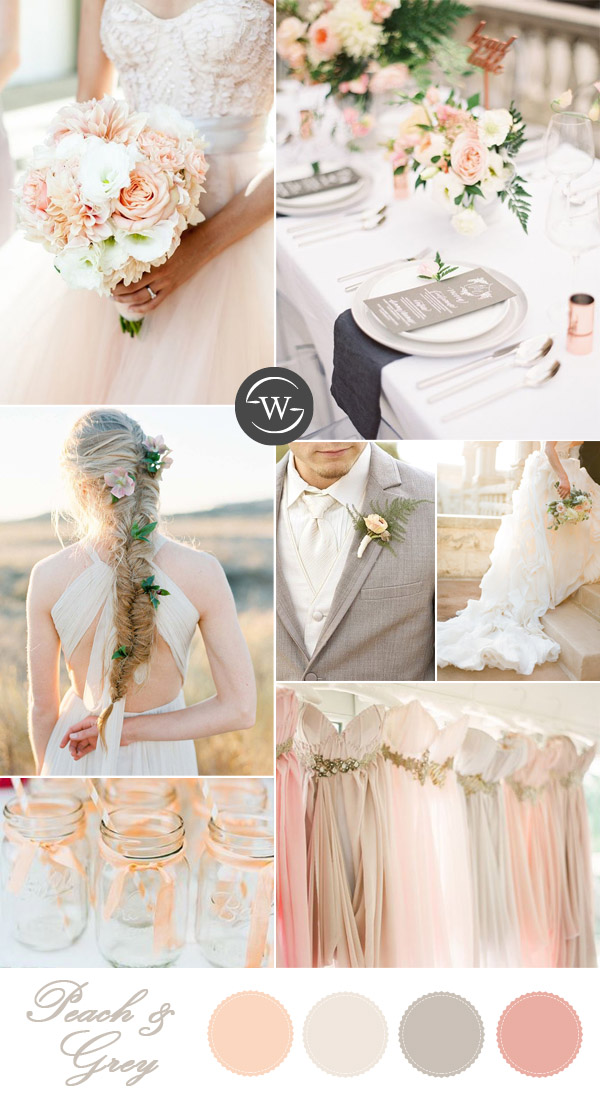 Peach And Grey Wedding Color Palettes