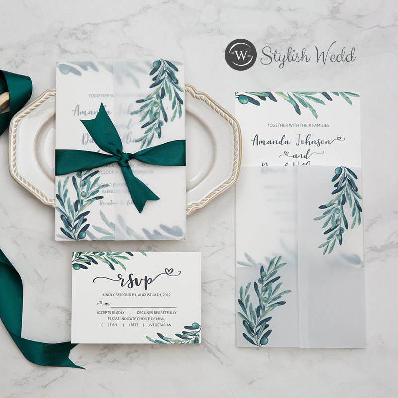 trending greenery olive branch wedding invitation with matching vellum paper wrap SWPI079