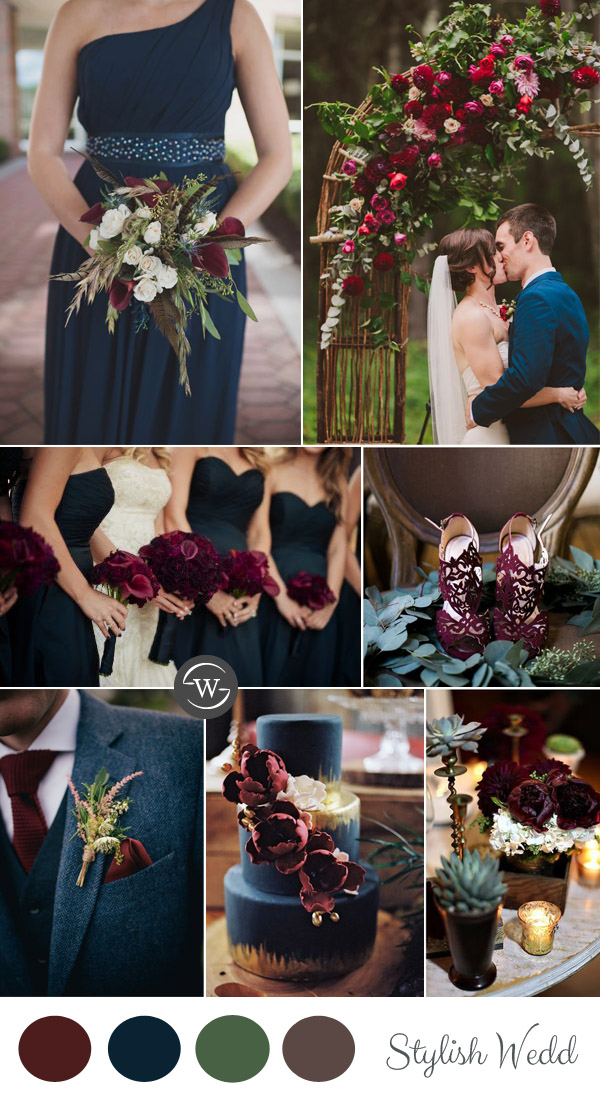 vintage burgundy and navy blue garden wedding ideas