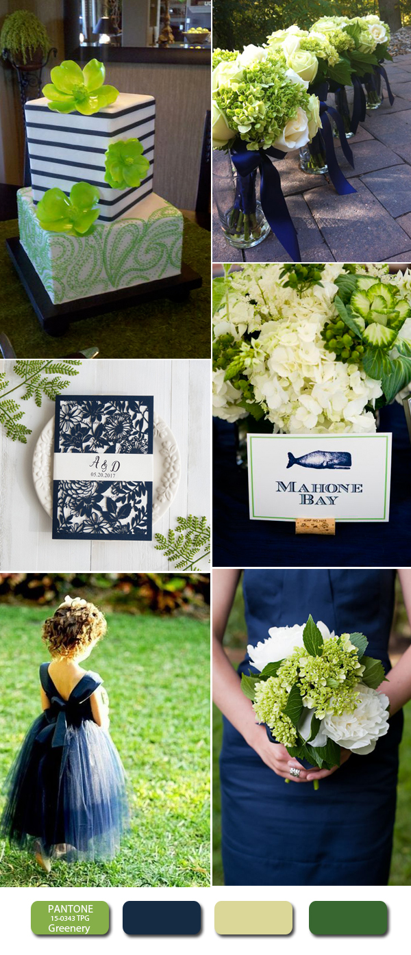 2017 greenery and navy blue wedding color inspiration