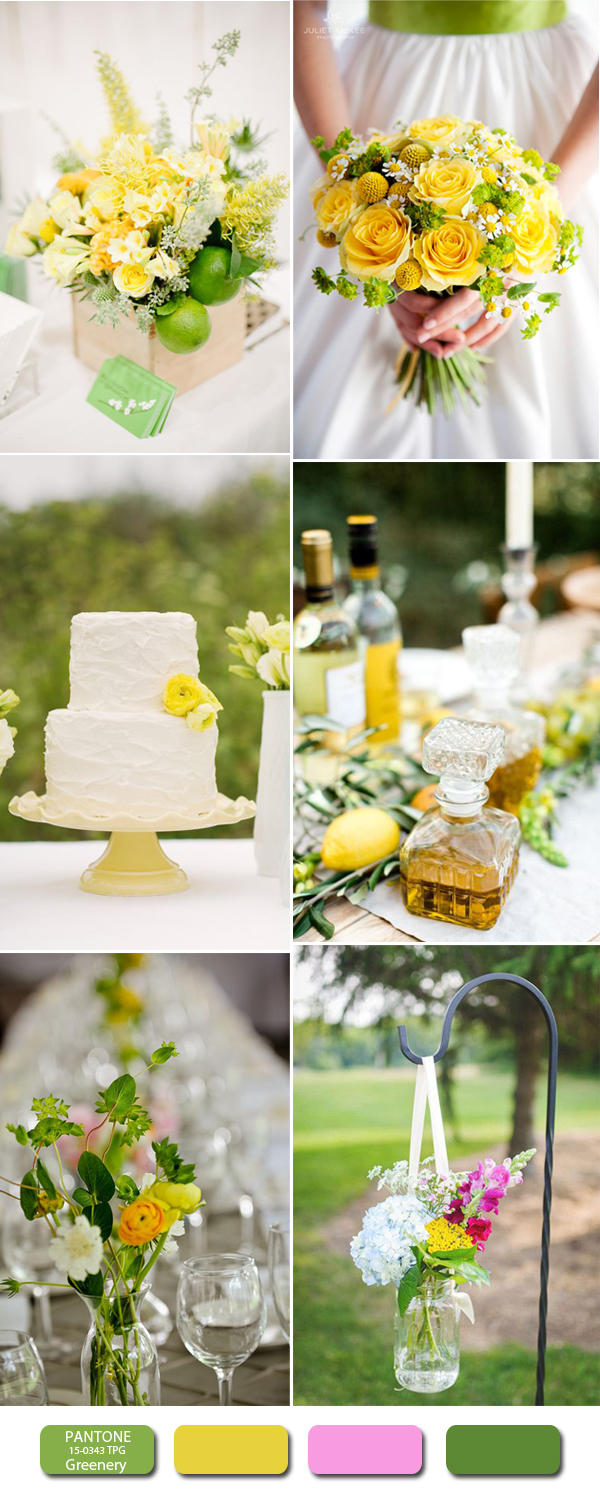 2017 greenery and yellow wedding colors ideas