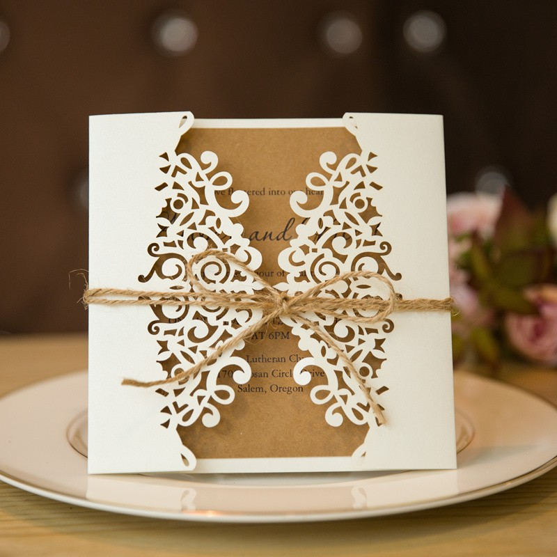 Formal White Laser Cut Wedding Invitation Cards with Band