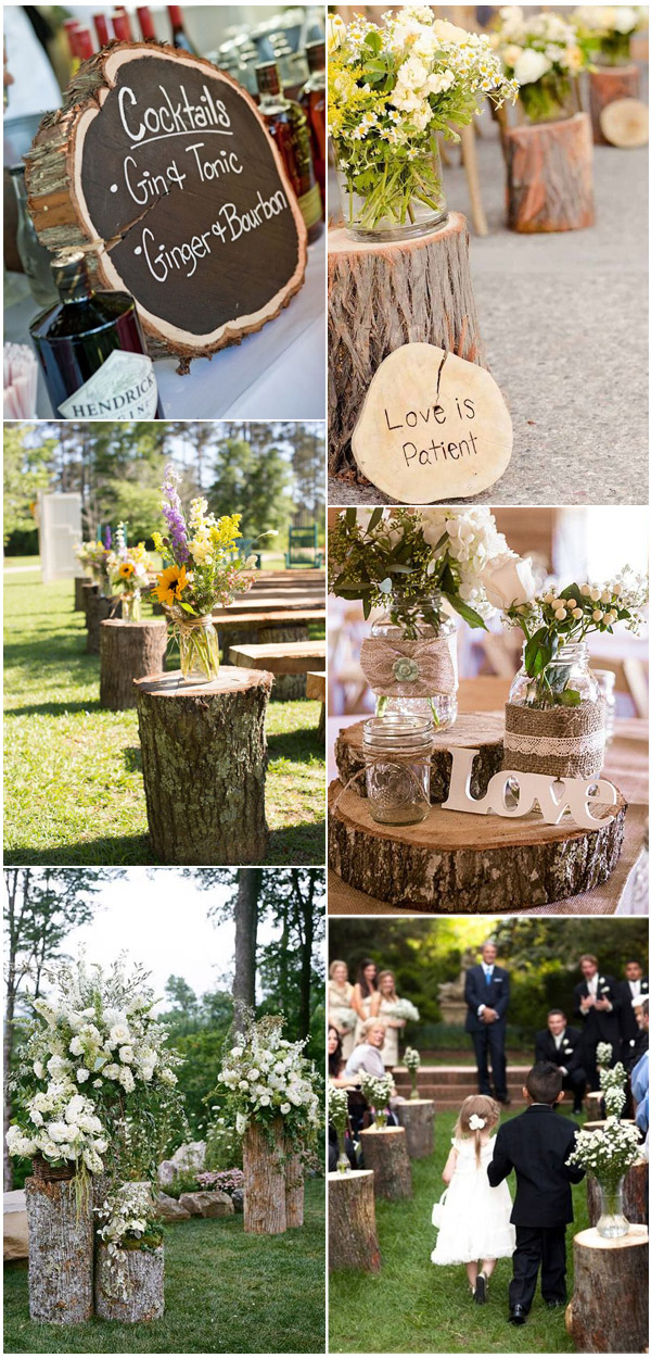 Tree Stump Inspired Fab Rustic Country Wedding Decorations
