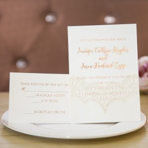 chic foil-stamped lace laser cut formal wedding invitations