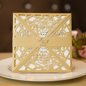 classic rose gold laser cut wedding invitations
