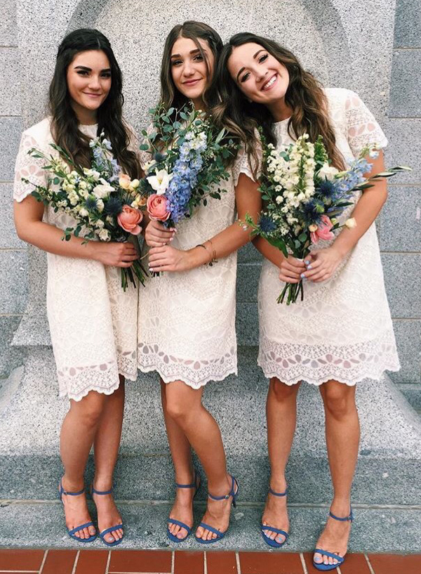 dramatic vintage lace bridesmaid dresses with cap sleeves