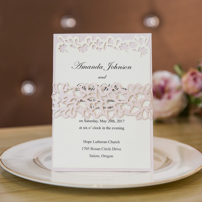 elegant blush layered laser cut wedding invitation